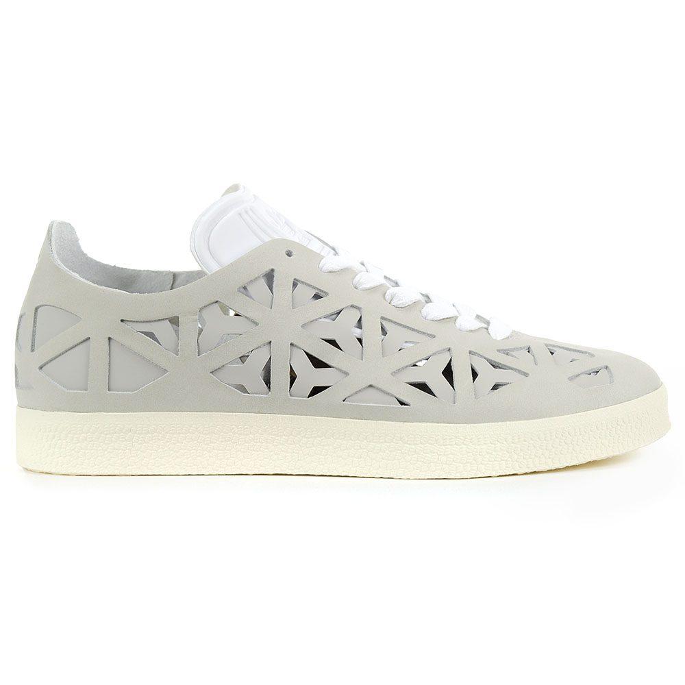 low priced 9aeb2 4c407 Adidas Womens Gazelle Coutout WhiteCream White Leather Shoes BB5179 NEW!
