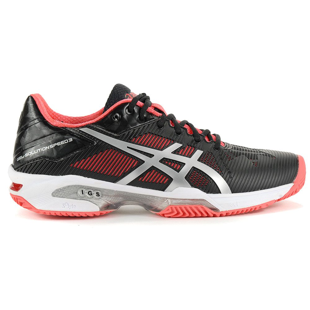 bba12bac2 ASICS Women's GEL-Solution Speed 3 Clay Black/Pink Tennis Shoes E651N.9093  NEW!
