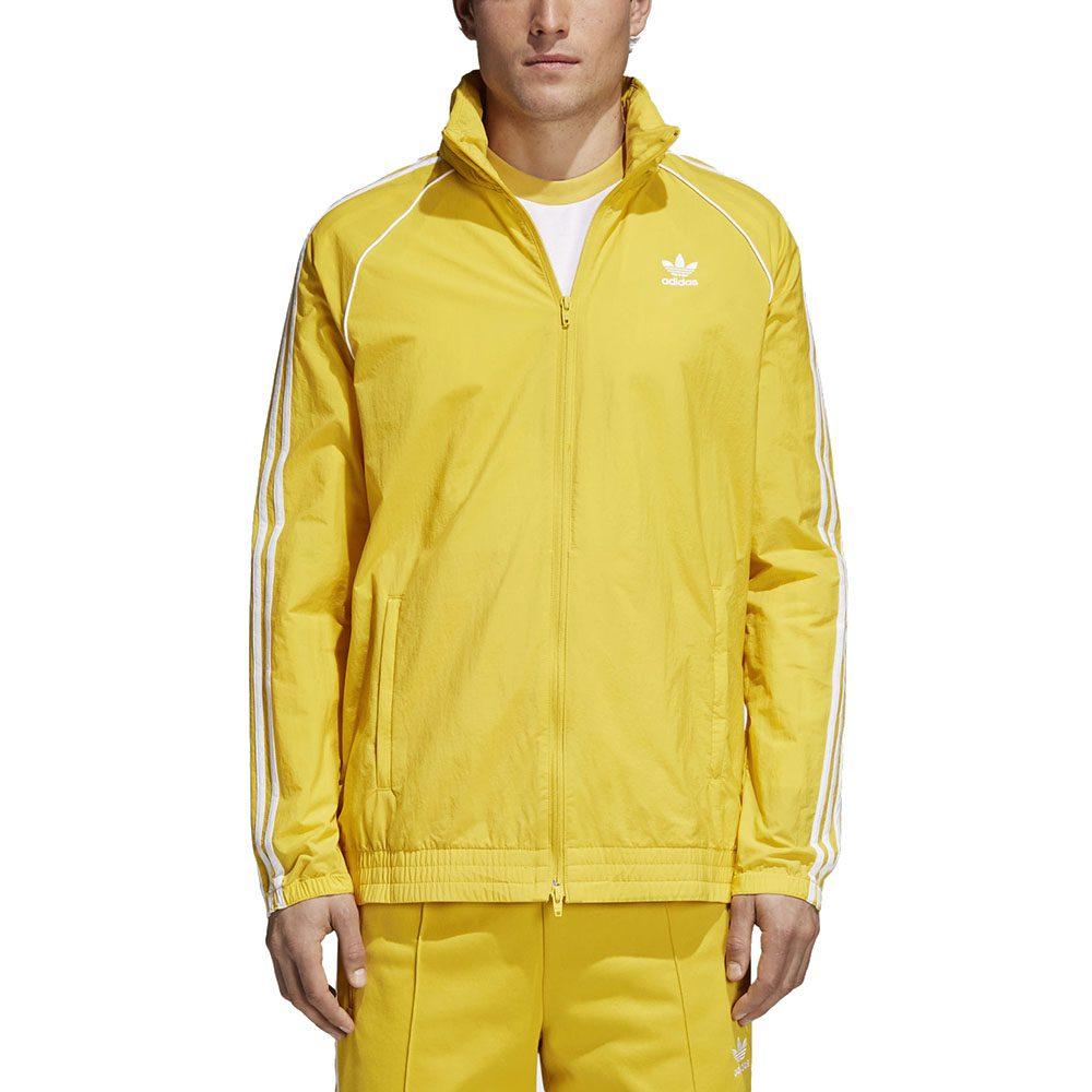 low priced 53166 39532 Adidas Men s SST Windbreaker Tribe Yellow 3 Stripe Jacket CW1312 NEW!