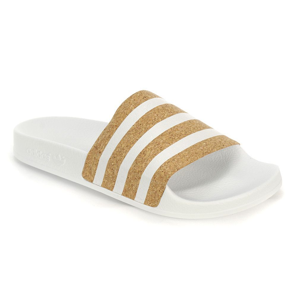 edf5444c7ae Adidas Women s Originals Adilette Cloud White Black Cork Sandals CQ2238