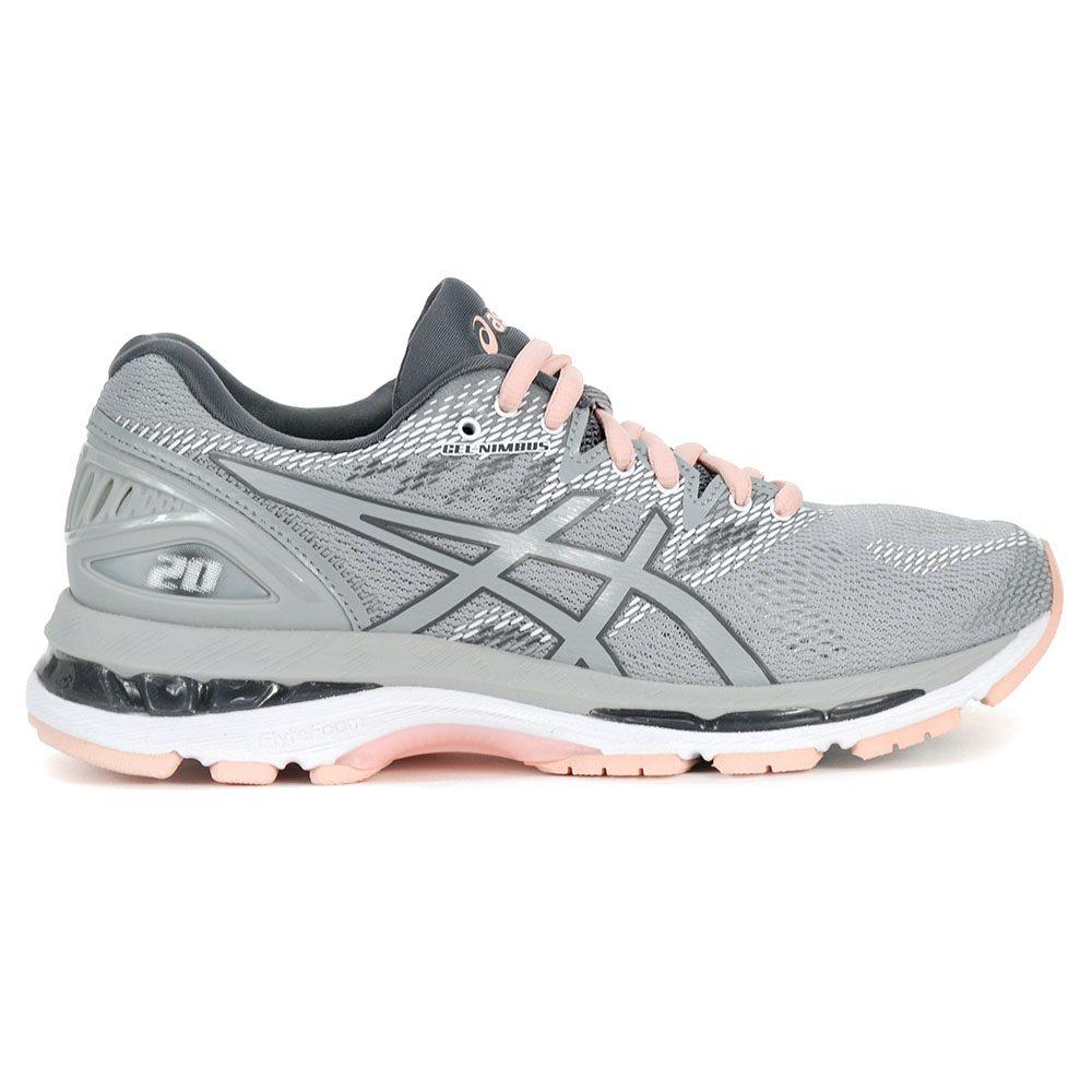 c40676a6213e ASICS Women s Gel-Nimbus 20 Mid Grey Seashell Pink Running Shoes T850N.9696  NEW!