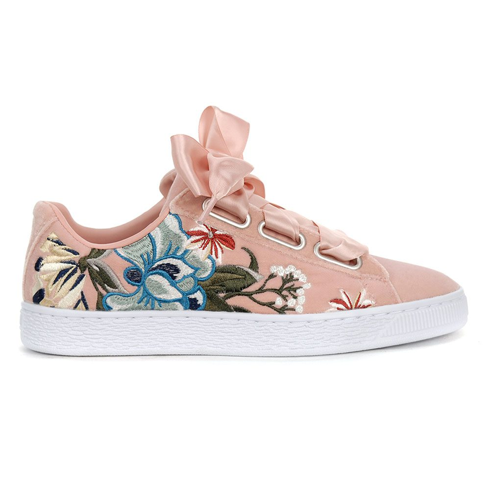 new products 0fbcf 6f425 Details about PUMA Women's Basket Heart Hyper Embroidery Shoes Peach  36611602 NEW!
