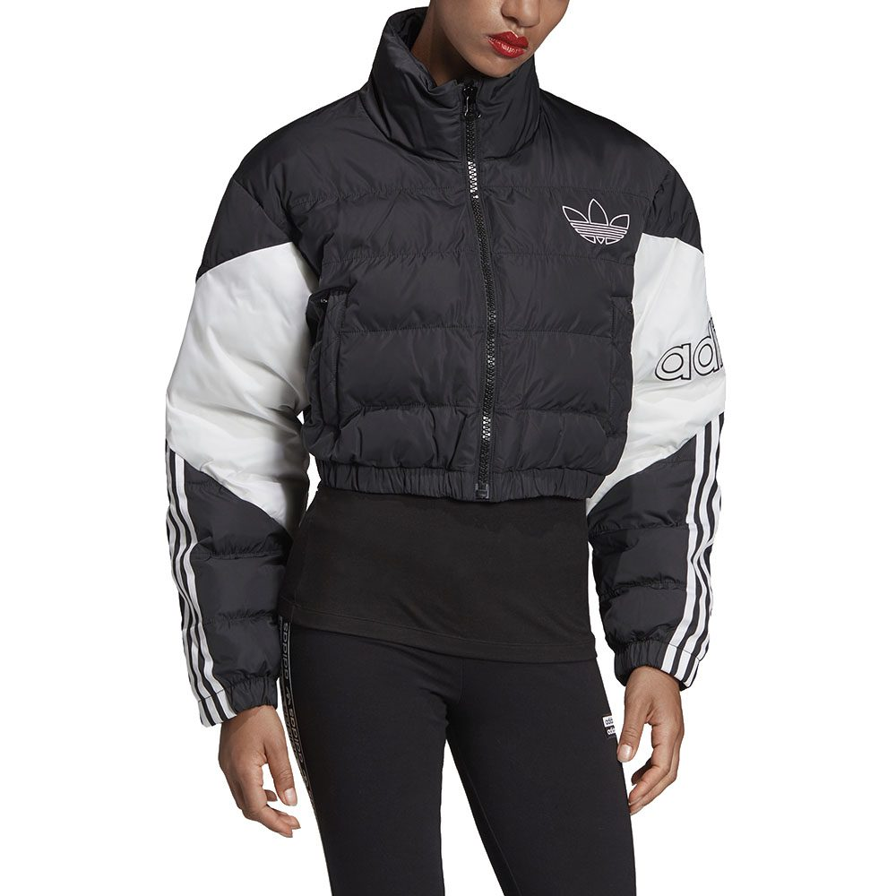 Details about Adidas Originals Women's Cropped Puffer Jacket BlackWhite ED7598 NEW